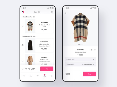 A practice about women's fashion application(2) farfetch app uiue fashion logo pink icon womens fashion app purchase cart daliy practice cloth app clean ui bar design