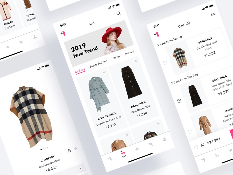 A practice about women's fashion application(3) cloth app clean ui farfetch app purchase pink icon womens fashion app fashion app fashion logo cart bar design