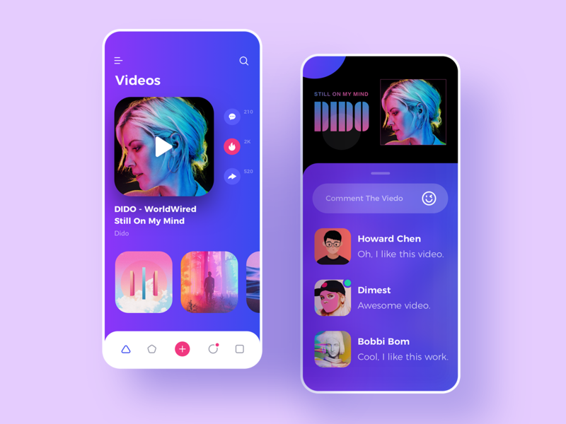 video application practice comment large rounded ui design video ui