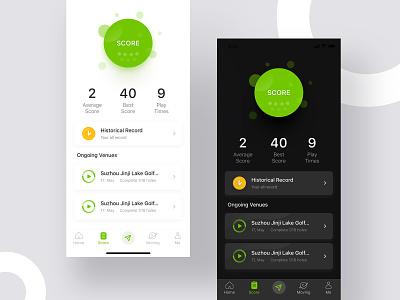 golf application UI design meterial design dark theme dark theme meterial design golf app design ui clean ui icon design gradual icon daily practice