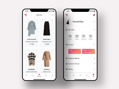 Woman Fashion App farfetch app cloth app order coupon icon bar bar wish list interface my center interface fashion app woman app