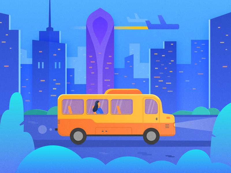 City Bus Illustration city night scene sketch illustration vector illustration bus illustration city illustration bus city
