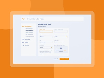 Swarm Investor Pass product mvp ux interfaces userflow kyc wizard user process registration register interface dashboard assets crypto blockchain