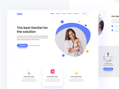 The best Dentist landing page uiux doctor dentist minimal website web ux ui design