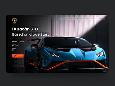 Lamborghini Huracan STO lamborghini supercar car header app design app web clean uiux ux ui design