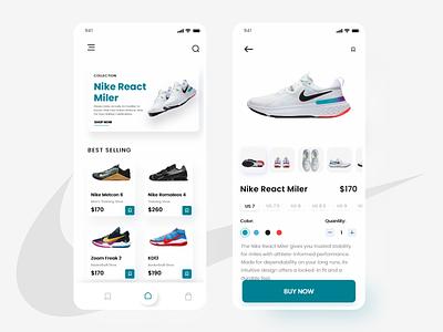 Nike typography branding app design app clean uiux ux ui design