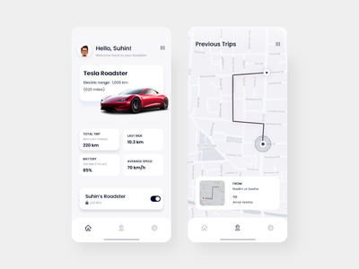 Tesla Roadster car app app design clean ux ui design