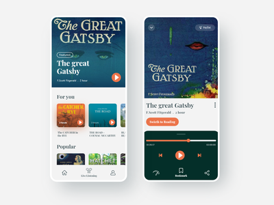 audiobook. audiobook bookapp minimal app design app web clean uiux ux ui design