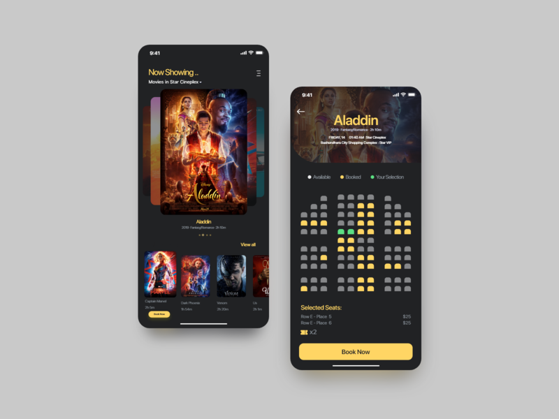 Show ticket booking app dark ui movie app design app clean uiux design ux ui