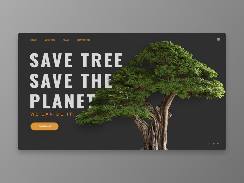 Save Tree Save The Planet save tree web design header web clean uiux design ux ui