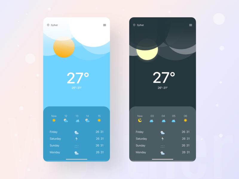 Weather UI android ios app trending trendy weather forecast weather app app design uiux design ux ui