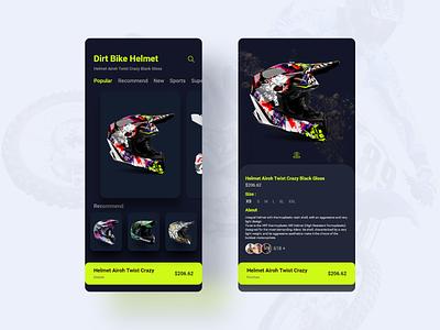 Dirt Bike Helmet. dark biker helmet bike app design app clean uiux ux ui design