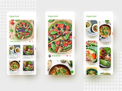 Vegan Food green restaurant food trending app design app clean uiux ux ui design