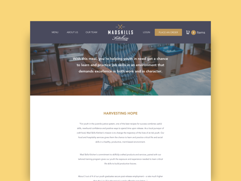 Mad Skills Kitchen - Website Concept ui non-profit website