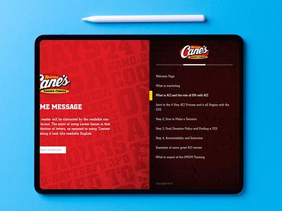 Raising Cane's iPad Training Platform ios development ios app design product design