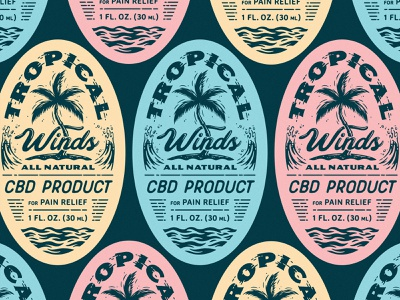 Tropical CBD Labels pastelcolors packagingdesign tropical illustration cbd packaging labels
