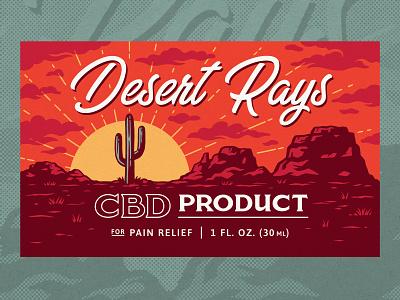 Desert CBD Label packaging design southwest labels vintage desert illustration packaging cbd label