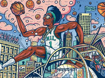 Cream City Baller Illustration skylineillustration basketball milwaukee vector illustration popart basketballart nbaart