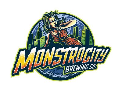 Monstrocity Brewing Logo illustrator monstermovies vintage retro beer craftbeer brewery logo illustration