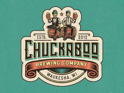 Chuckaboo Brewing Co. illustrator texture oldfashioned antique vintage retro beer craftbeer brewery logo illustration