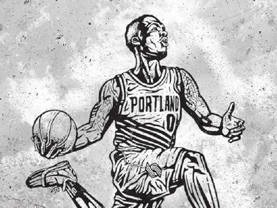 Damian Lillard Line Art texture blackandwhite inking ink basketball basketballart linework lineart illustration illustrator