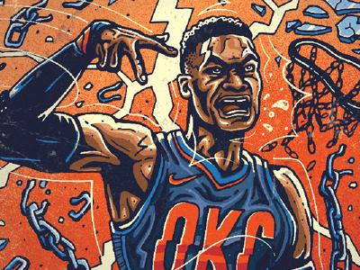 Russell Westbrook texture comicart comics okcthunder westbrook basketballillustration basketball basketballart illustration illustrator