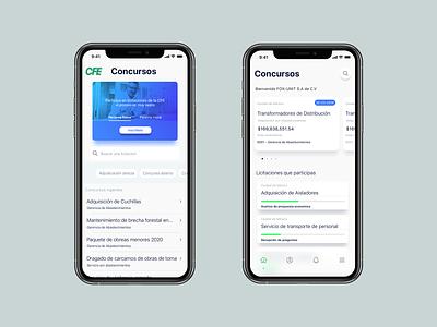 CFE // SEC dashboard ui minimalist minimal ios design ux mobile flat app ui