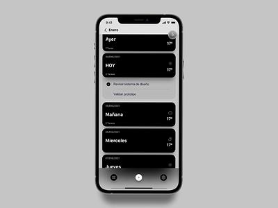 Concept Planner list screen UI black task list task manager app mobile minimalist ios minimal flat design ui
