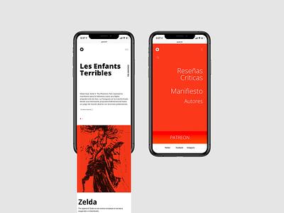 Golem concept wip videogames blog website web ux ui typography promo mobile flat desing