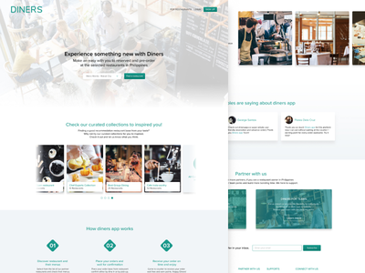 Diners App - www.dinersapp.com pre-order reservation food tech landing page website home page