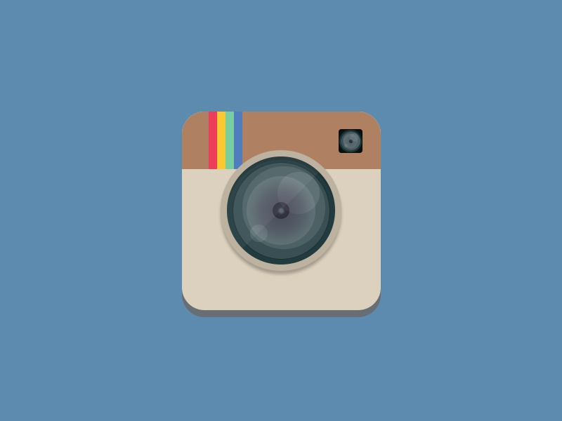 Flat Instagram Icon ios photography flat design rebound lens icon ui flat instagram camera app icon photoshop android design photo graphic design app ios 7 appicon playoff rebounding ios7 photos