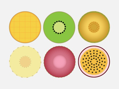 Flat Circle Fruit Icons passiflora fruit flat mango kiwi melon banana strawberry passionfruit fruits icon icons