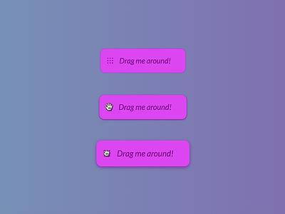 Grab & Drag button ux ui design ui app icons shadow icon cursor dragging drag grabbing grab