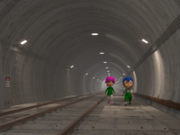 Boy and Girl walking in a Metro Tunnel