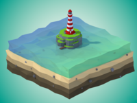 Low Poly Lighthouse on a Rock