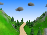 Cartoon mountain road environment