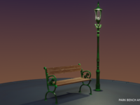 Vintage Park Bench and Street Lamp (Low Poly) | Blender 3D2