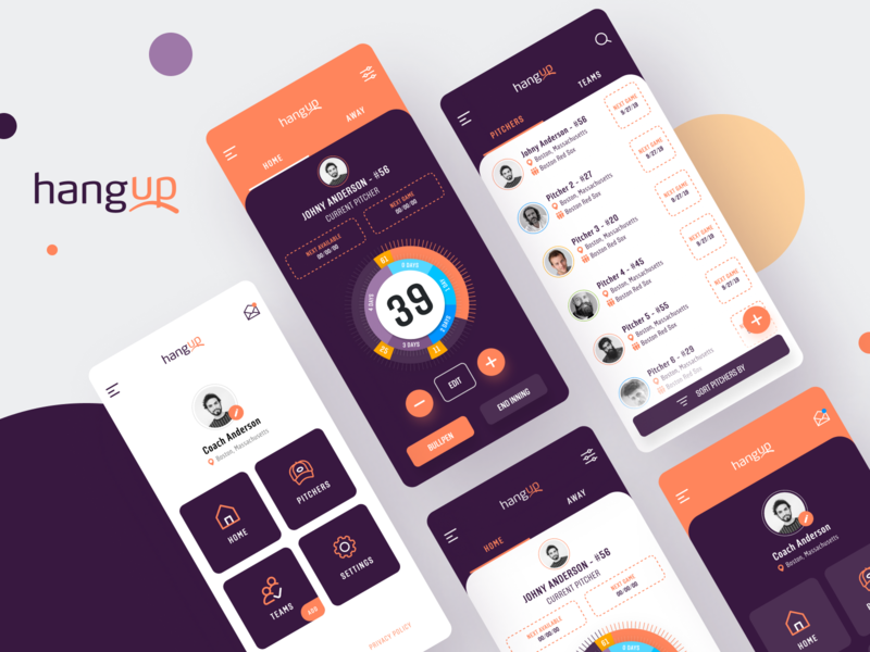 HangUp App sports sport app baseball baseball app design app app design pitchers app