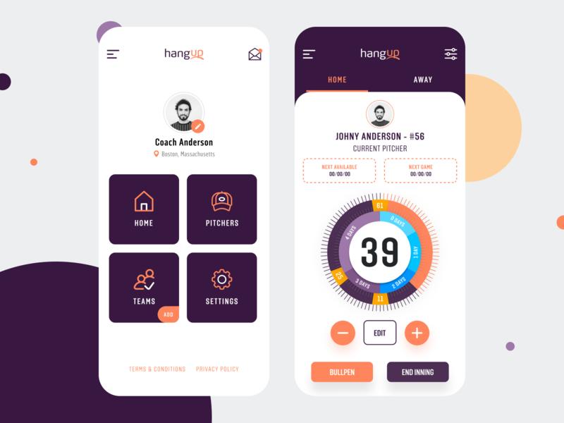 HangUp App baseball sports sports app baseball app ux ui design app design app pitchers app