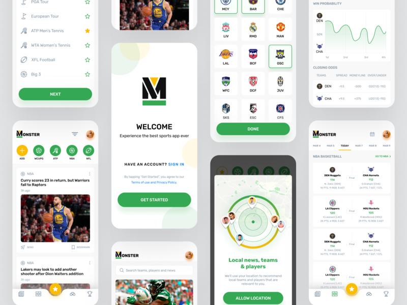 Sports App team players news design app design app fitness sports sports app