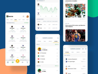 Group Sports app players events news match score design app design app sports app