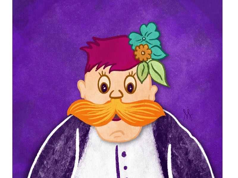 Character Illustration - Gulkand Chacha mustache digitalart digital illustration texture procreate portrait characterdesign character graphic design illustrator illustration