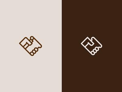 Bakery icon logo lines heart toast bread hand