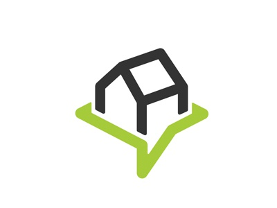 Comment House logo black green house