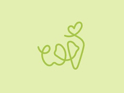 Vegetable concept line carrot lemon apple