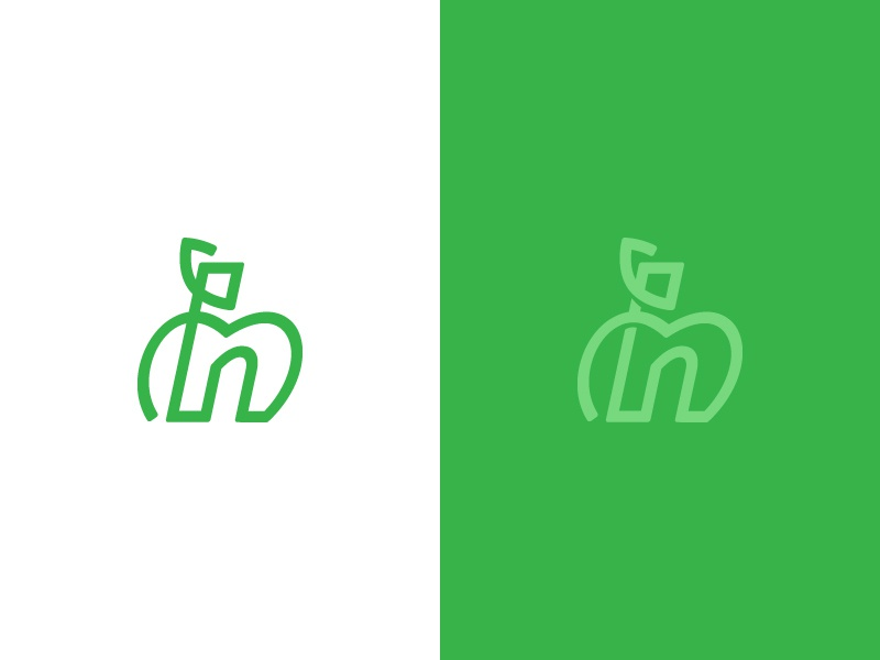 H Apple line green logo apple h