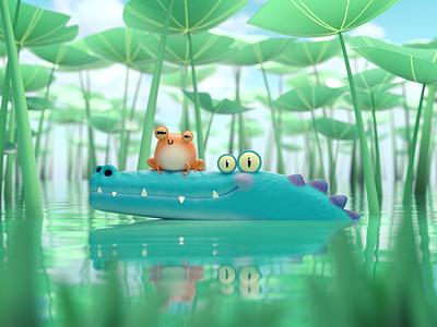 Frocky & Croco swamp friendship frog cartoon 3d 3d model 3d character character
