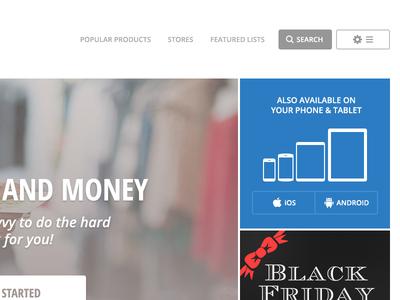 ShopSavvy website mock WIP