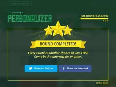 Personalizer: Round Complete Web UI