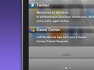 iOS 5 Notifications Pulldown pulldown iphone ios ios5 iphone4 purple notifications